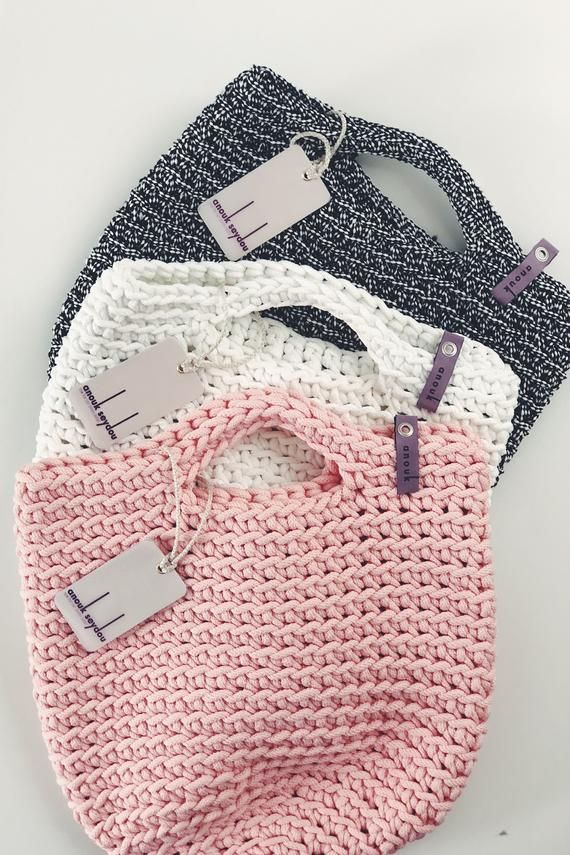 Einkaufstasche skandinavischen Stil häkeln Einkaufstasche handgemachte Tasche gestrickte Handtasche Geschenk für ihre BABY PINK Farbe