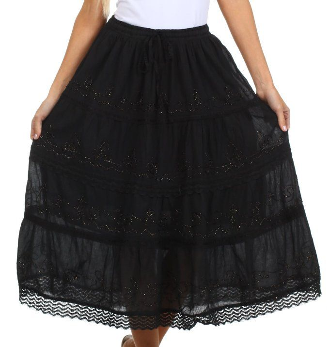 c6c8044f3 Sakkas AA854 Solid Embroidered Crochet Lace Trim Gypsy Bohemian Mid Length  Cotton Skirt - Black/Gold - One Size
