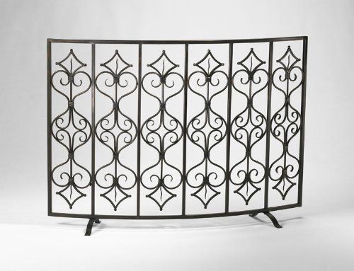 Curved Iron Decorative Fireplace Screen Tuscan French Decor Home