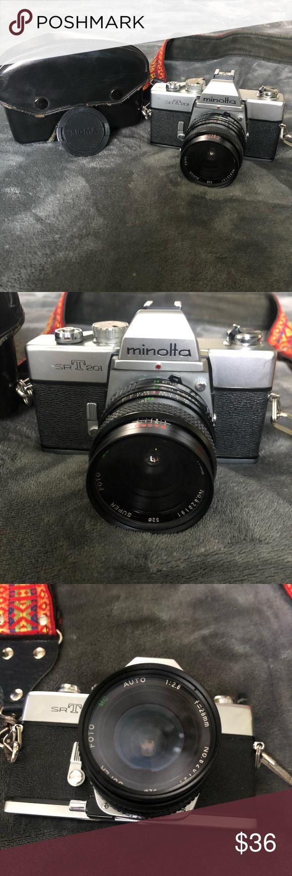 Sold Minolta Srt 201 Camera Like New Lens Caps Sigma Lenses Camera