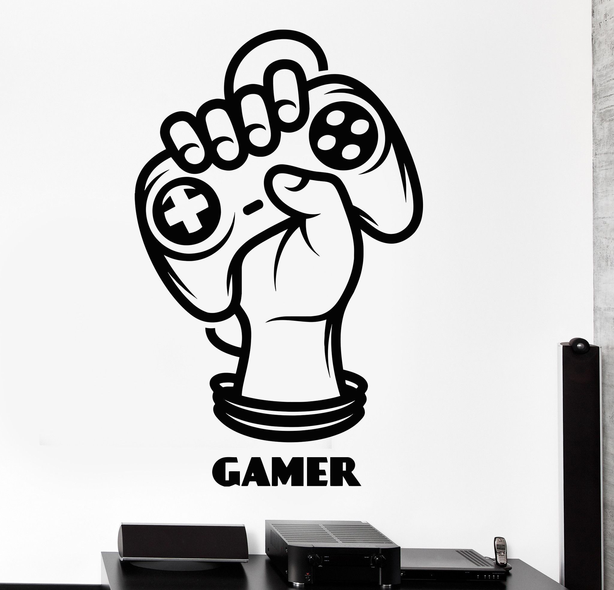 Gaming Wall Stickers Gamer Logo Wall Decals Murals Kids Bedroom