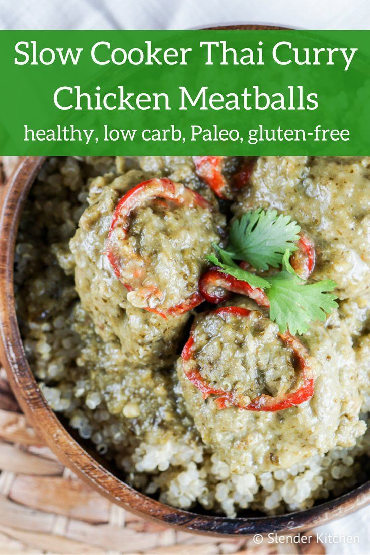 slow cooker thai curry chicken meatballs | recipe | slow cooker