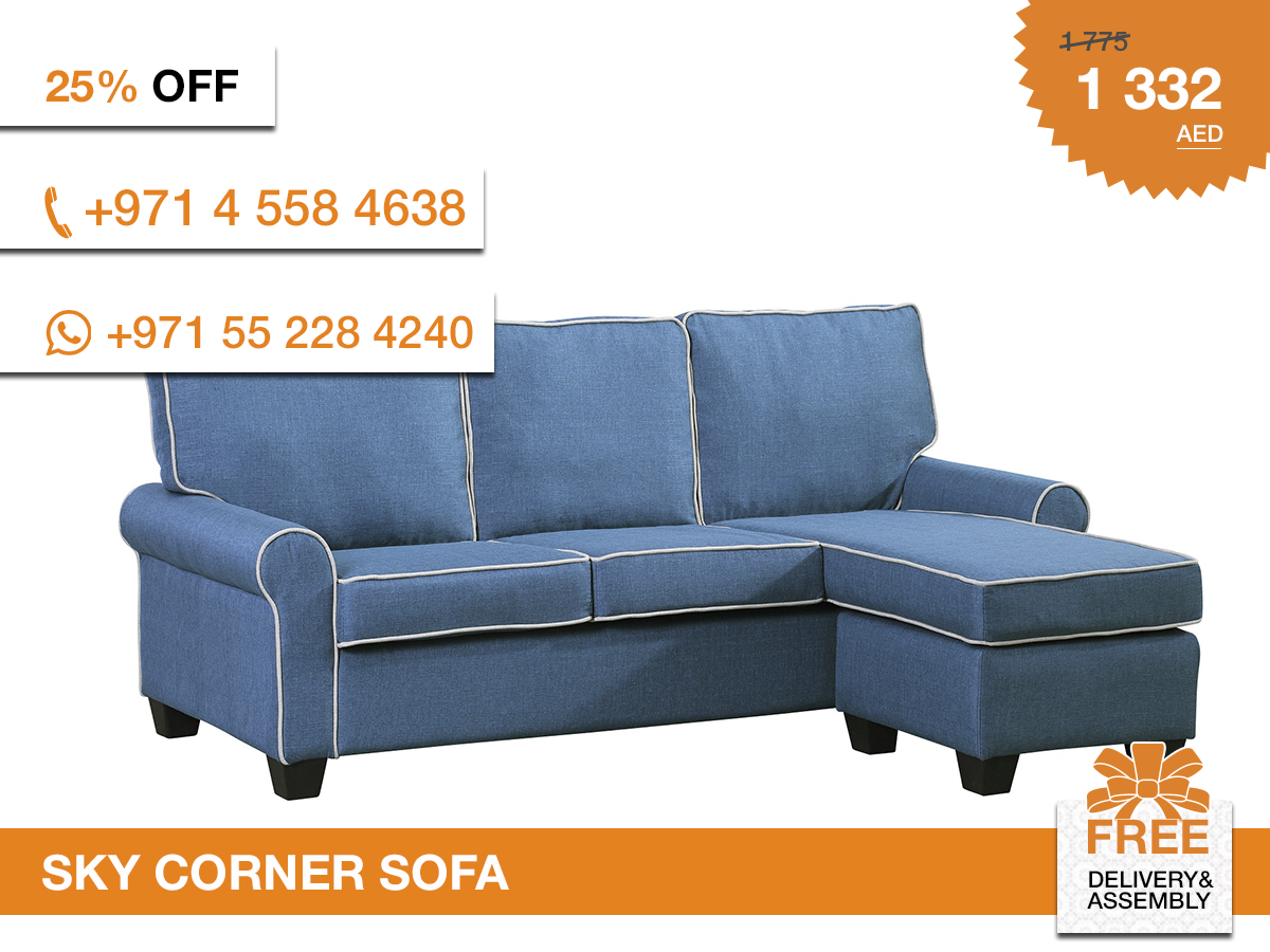 A cozy take on modern design this fabric upholstery of the sofa