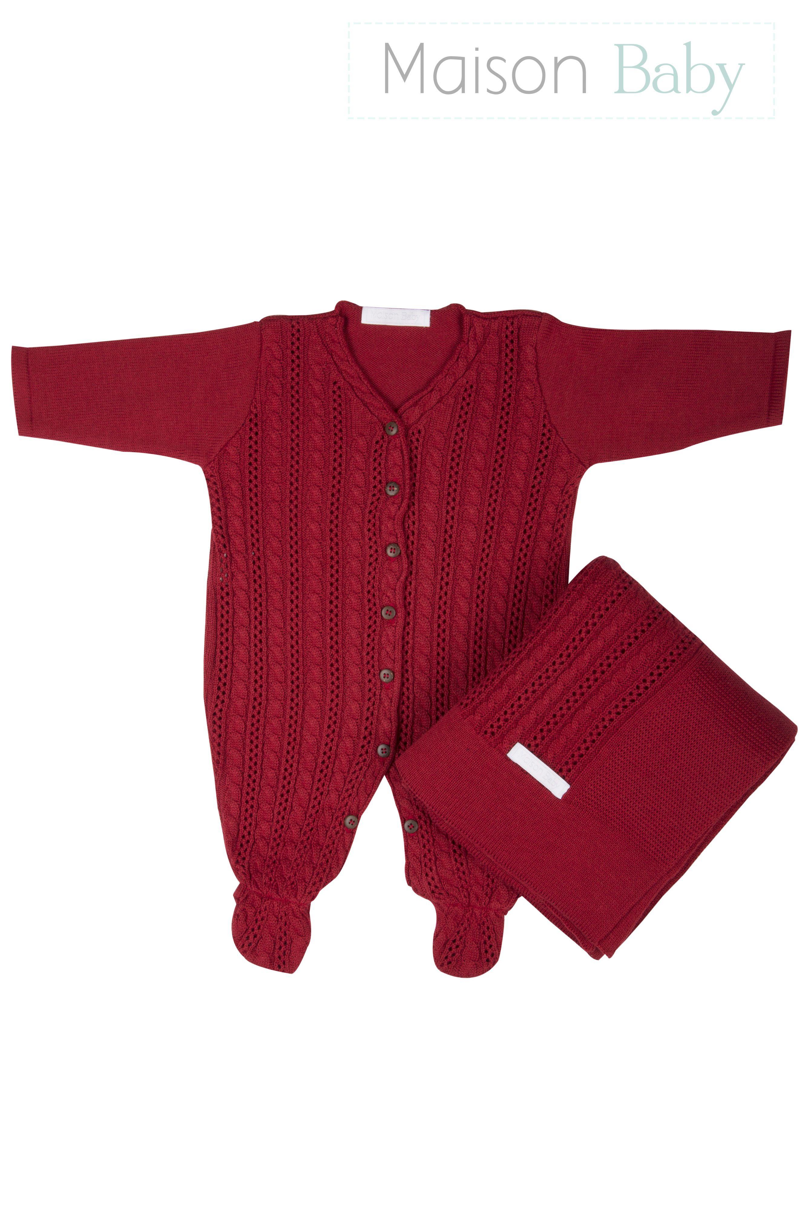 7cf7861fd2 Saída de maternidade tricot vermelha  saidadematernidade  newbornoutfit