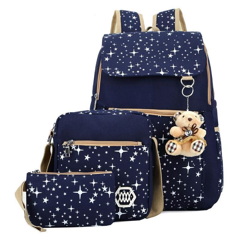 3 Set Backpack Fashion Composite Bag Preppy Style For Teenager Girls ... 21f5806221ddc