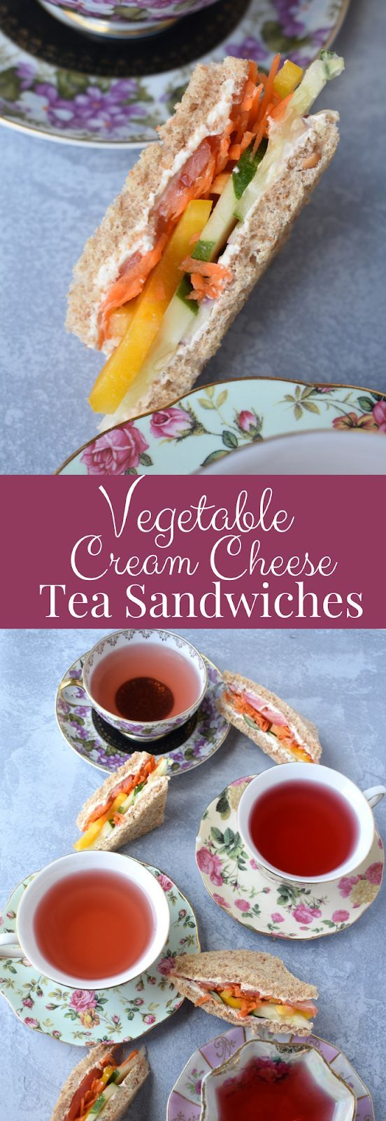Vegetable Cream Cheese Tea Sandwiches Vegetable Cream Cheese Tea Sandwiches makes the perfect tea party snack with a mix of rainbow vegetables and veggie cream cheese on...