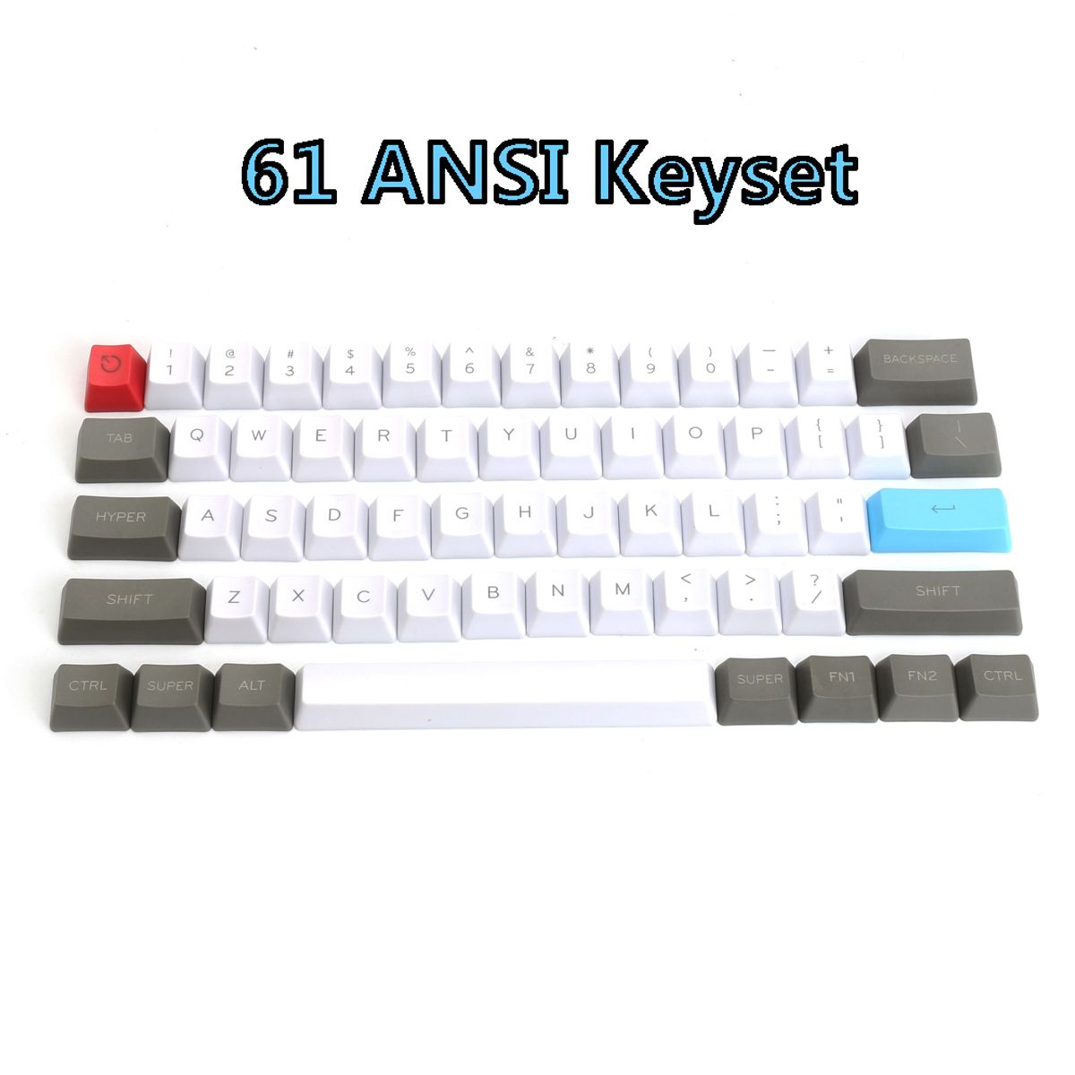 e1a2daebe17 61 Key ANSI Layout OEM Profile PBT Thick Keycaps for 60% Mechanical Keyboard  - Clever Mart