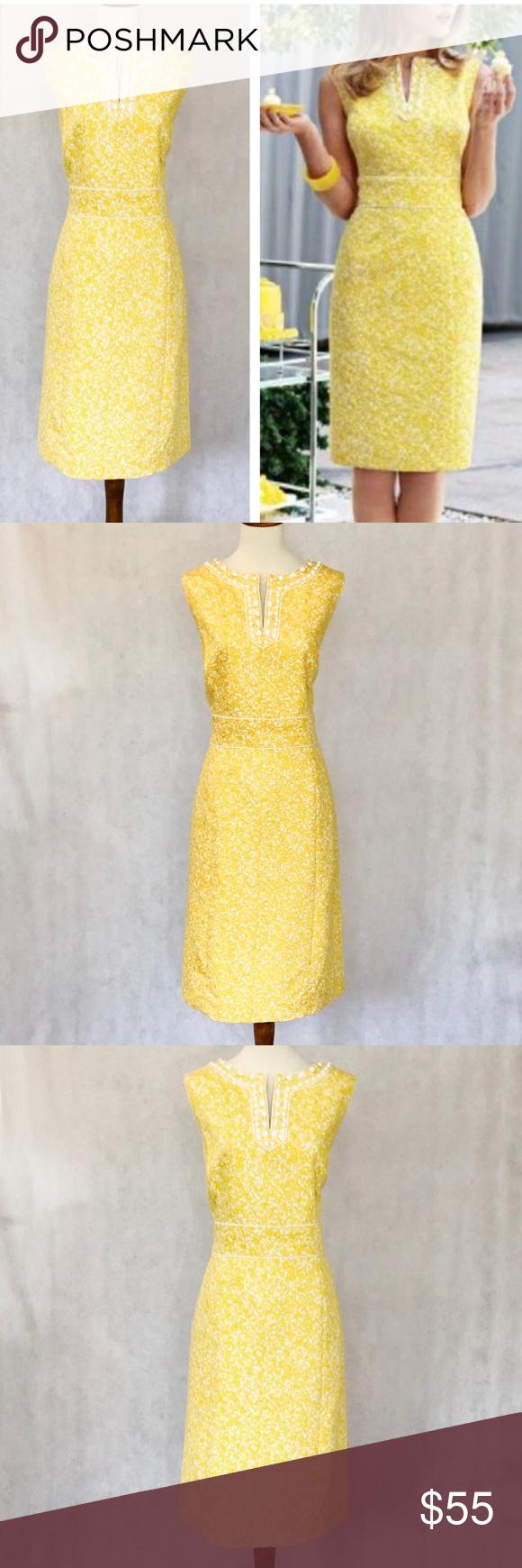 Tahari Yellow White Floral Beaded Neck Dress Dresses Neck Dress Tahari Dress [ 1740 x 580 Pixel ]