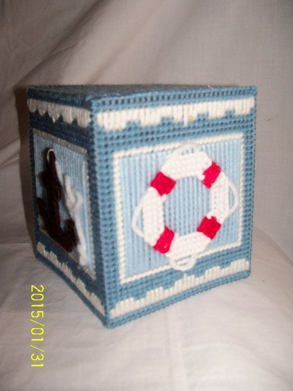 Nautical Tissue Box Cover By Twobrotherscraft On Etsy 2