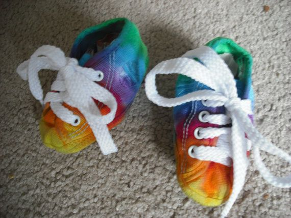Rainbow baby shoes upcycled.  Adorable!