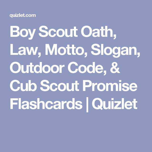 Boy Scout Oath Law Motto Slogan Outdoor Code Cub Scout