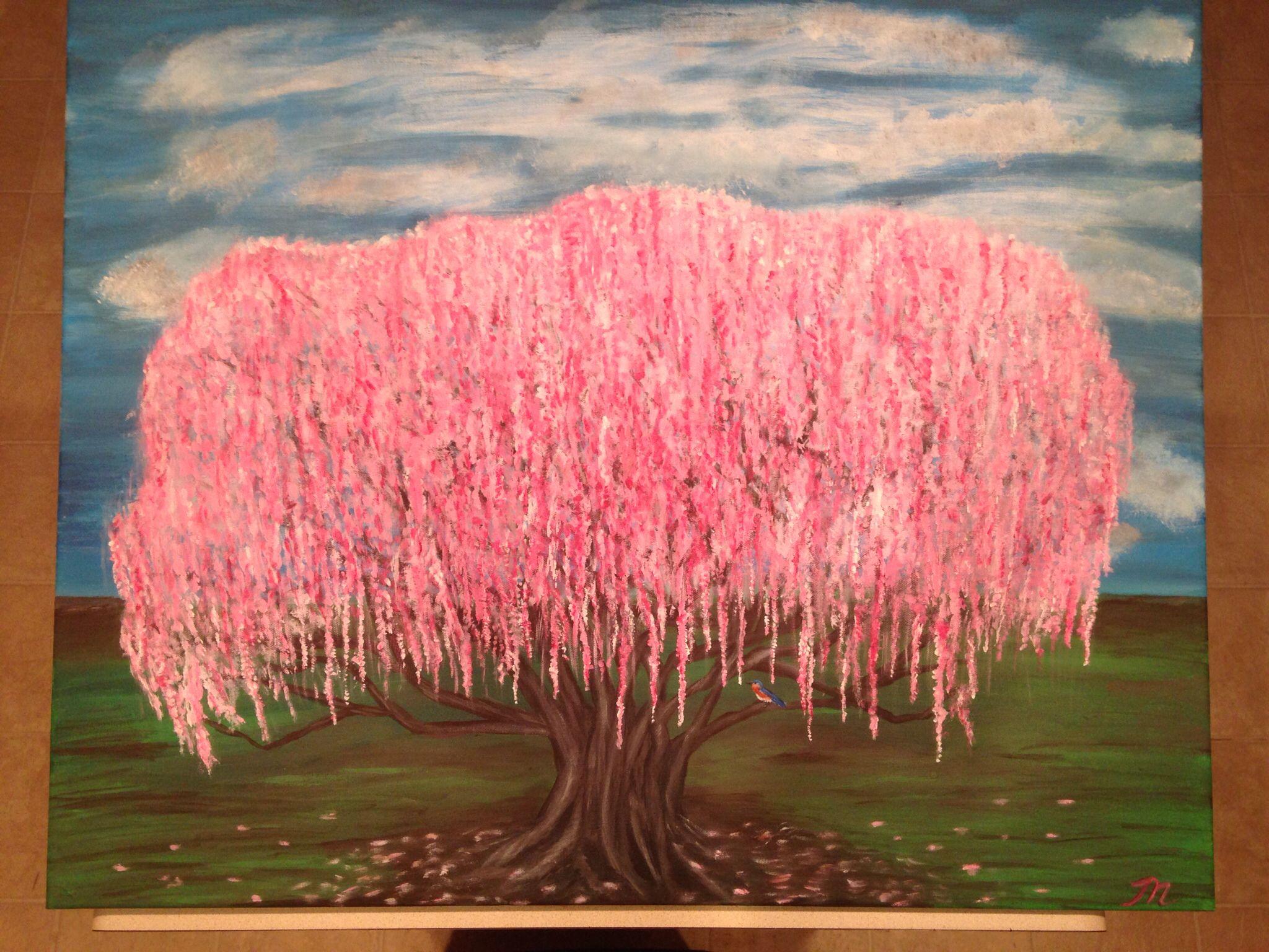 Cherry Blossom Tree Acrylic Painting Realistic Bluebird Bark Detail Pink Tree Clouds Original Painting Mara S Blue Bird Pink Trees Cherry Blossom Tree