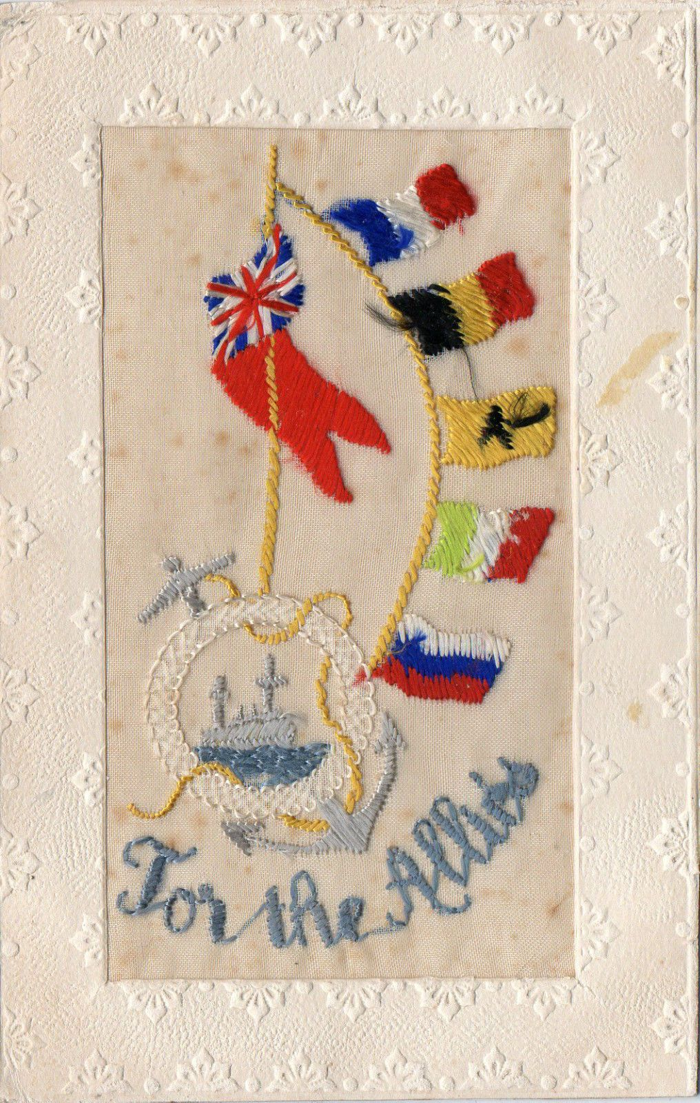 For The Allies: Warship: Ww1 Patriotic Embroidered Silk Postcard • £5.00 • PicClick UK