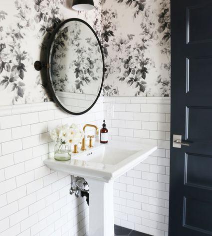 How To Make A Small Bathroom Look Bigger Bathroom Mirror Diy Bathroom Decor Wallpaper Accent Wall Bathroom