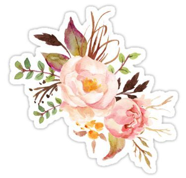 Peach Watercolor Peonies Sticker By Junkydotcom Tumblr Stickers