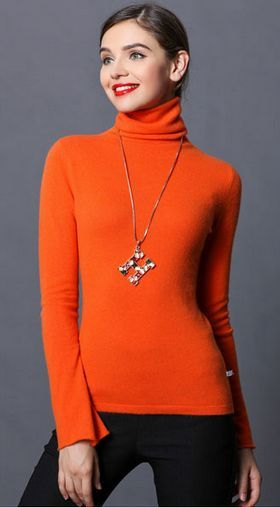 Orange Bell Sleeves Turtleneck Sweater | Women All Fashion ...