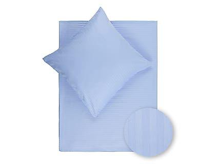 Satin-Bettwäsche Stripe, hellblau