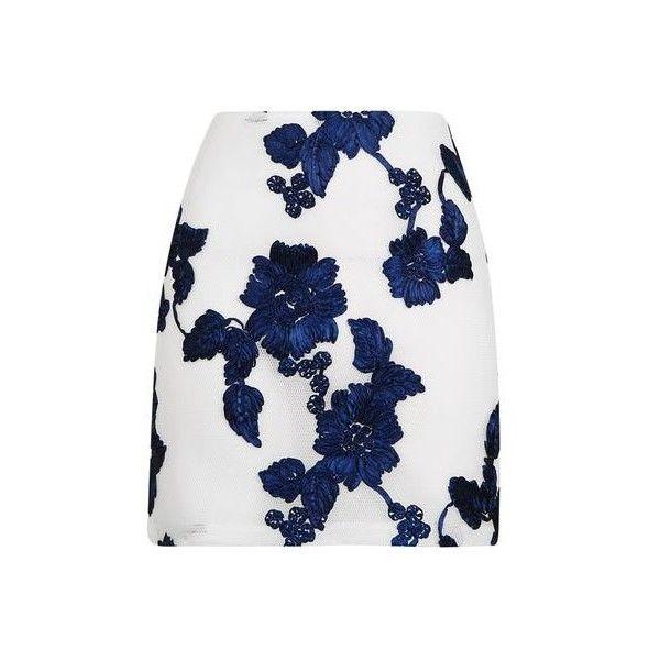 TopShop Ribbon Airtex Pelmet Skirt ($24) ❤ liked on Polyvore featuring skirts, white, topshop skirts, zipper skirt, white skirt, floral print skirt and flower print skirt