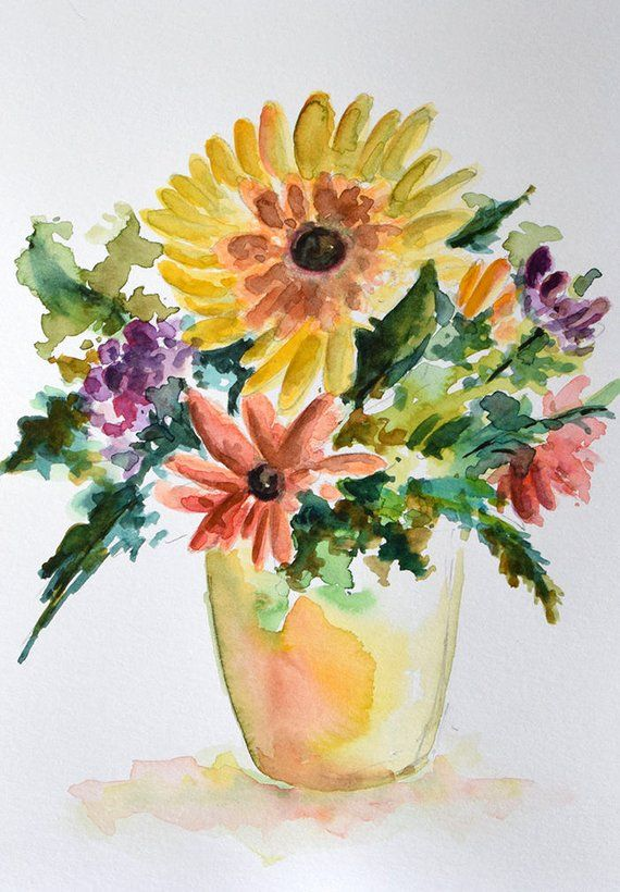 Original Watercolor Painting Wild Flower Bouquet Sunflower