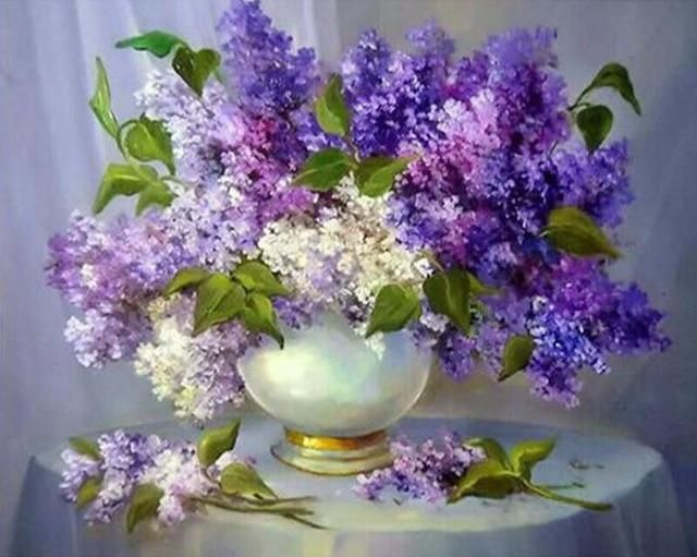 New Patterns Rhinestones Lilac Flowers 5d Diy Diamond Painting Mazayka Diamond Embroidery 3d Full Mosaic Pictures Fc669 Lilac Painting Flower Art Floral Painting