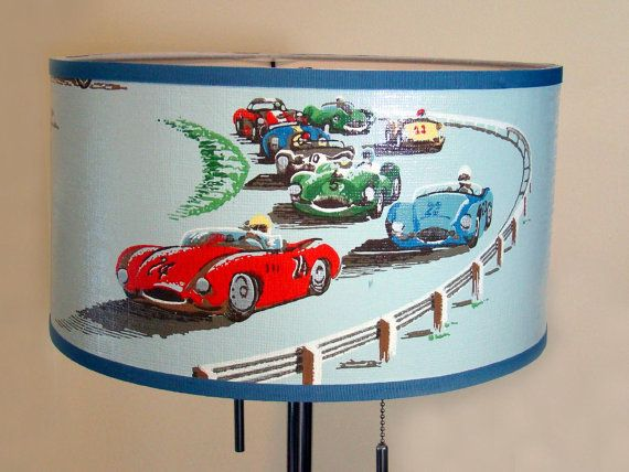 Vintage Wallpaper Drum Shade 1960u0027s Gear Jammers Car By Fondue, Another  Idea For The Boyu0027s