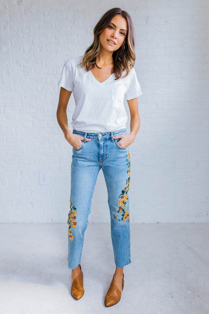 Image is loading NEW-Free-People-Mali-Embroidered-Straight-Leg-Jeans-
