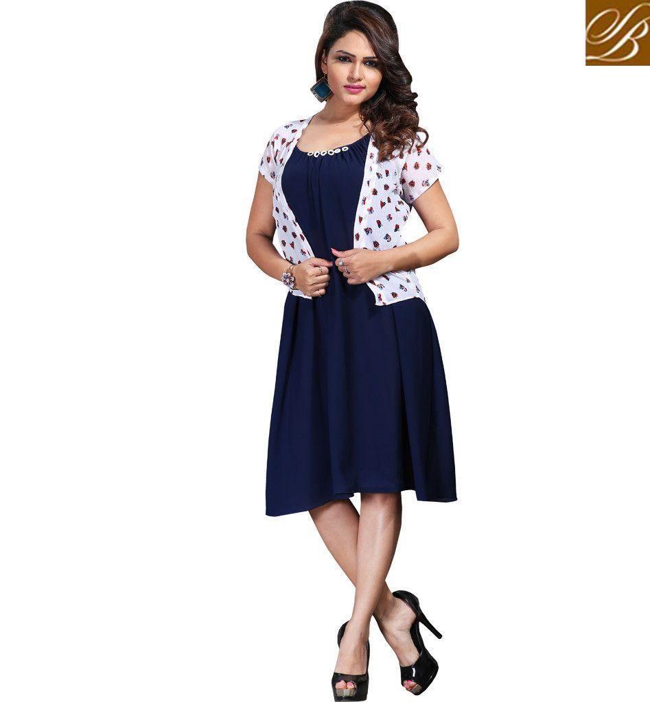 Shirt design kurti - Splendid Jacket Style Indo Western Kurti Design Vdspl10168