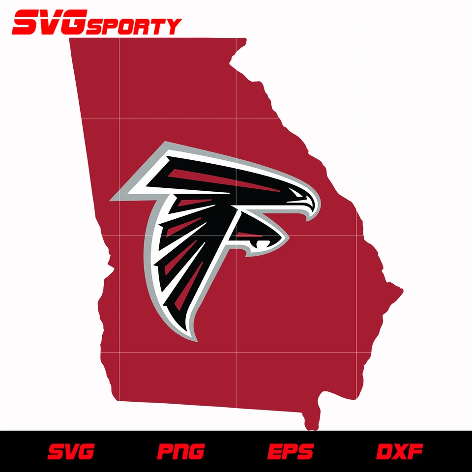 Atlanta Falcons Logo Map Svg Nfl Svg Eps Dxf Png Digital File In 2020 Atlanta Falcons Logo Falcon Logo Atlanta Falcons Svg