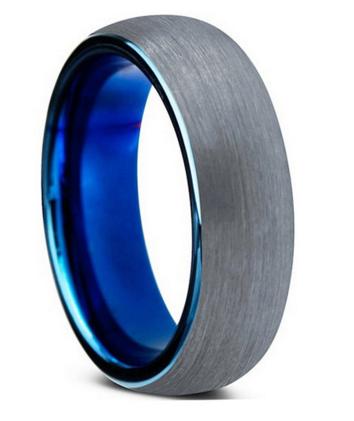 Mens Ocean Blue Brushed Tungsten Wedding Band Silver Wedding