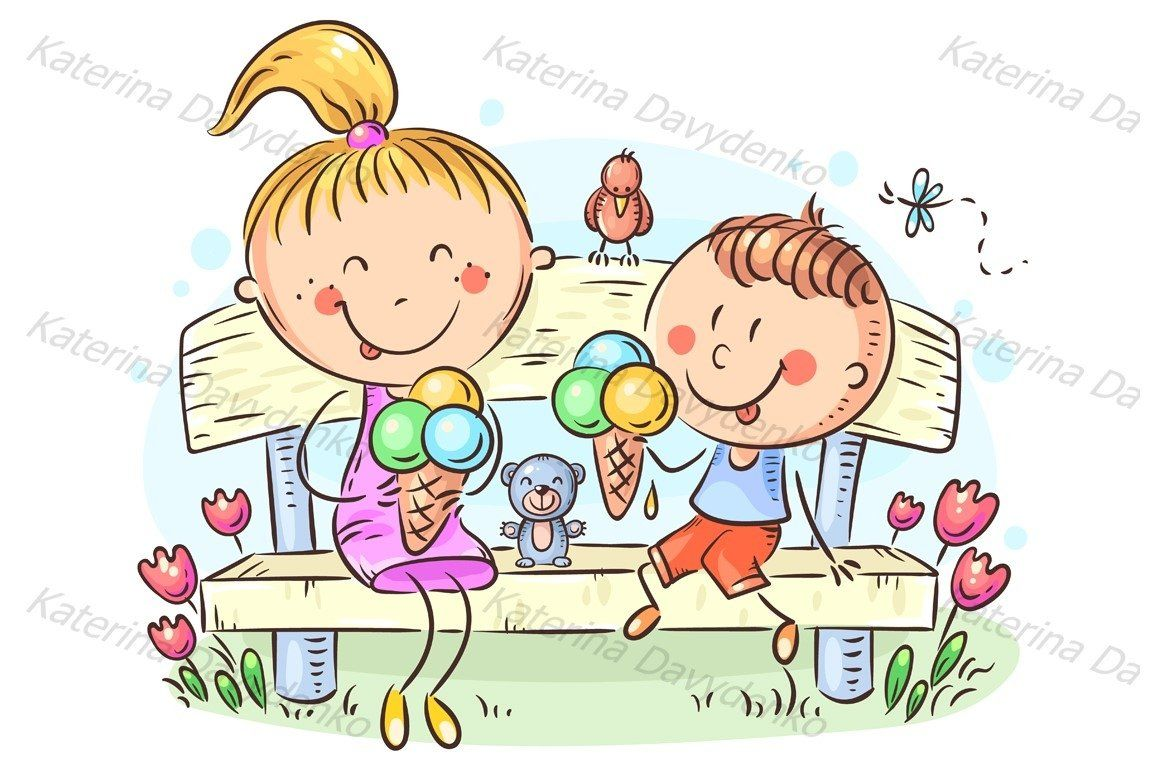 Kids Eating Ice Cream Sitting On A Bench In The Park 406151 Illustrations Design Bundles In 2021 Drawing For Kids Drawing Lessons For Kids Art For Kids