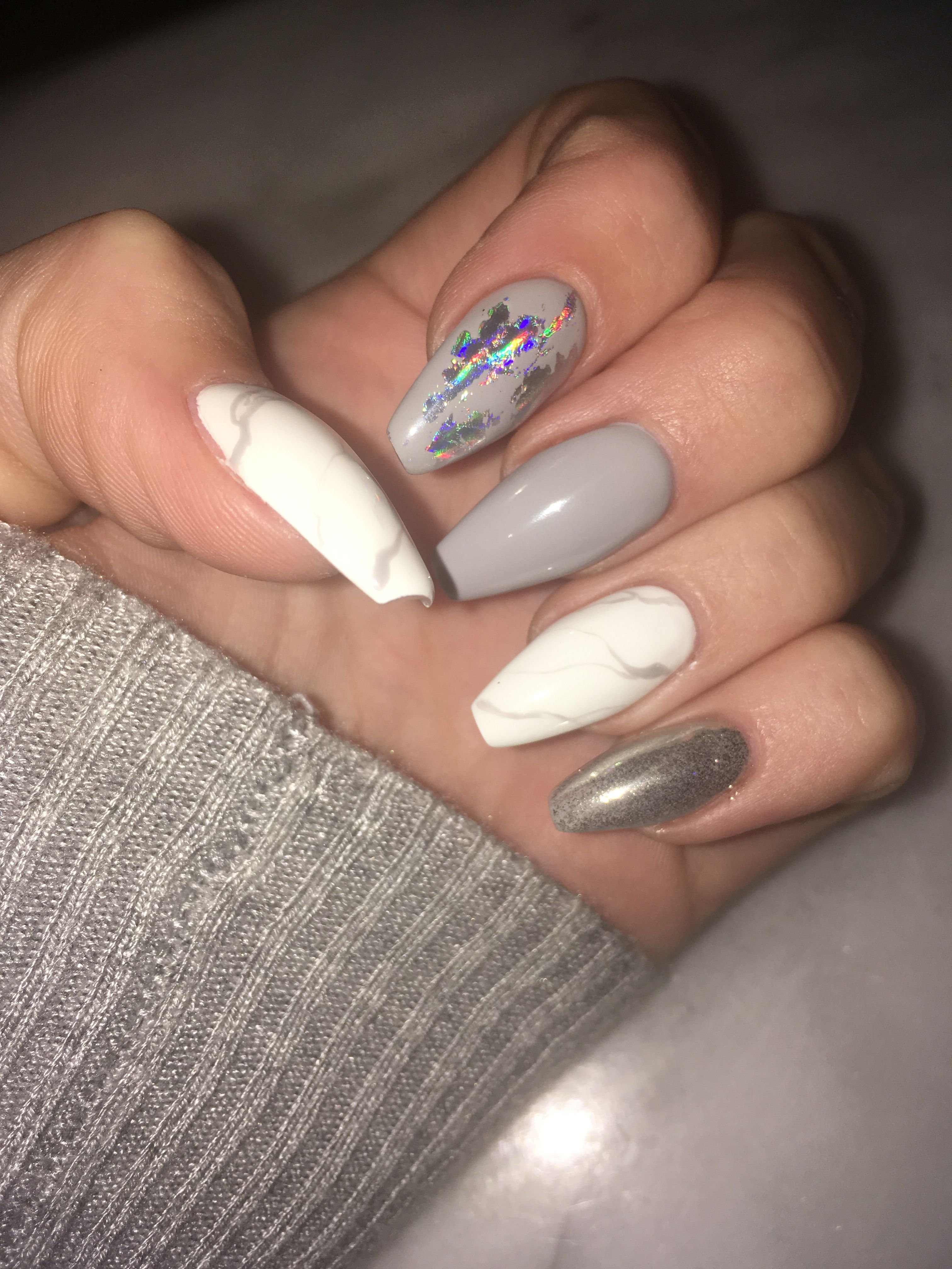 Grey And Marble Winter Nails Nails Acrylic Grey White Marble Coffin Chrome Fashion Foils Glam Chrome Nails Designs Winter Nails Acrylic Chrome Nails