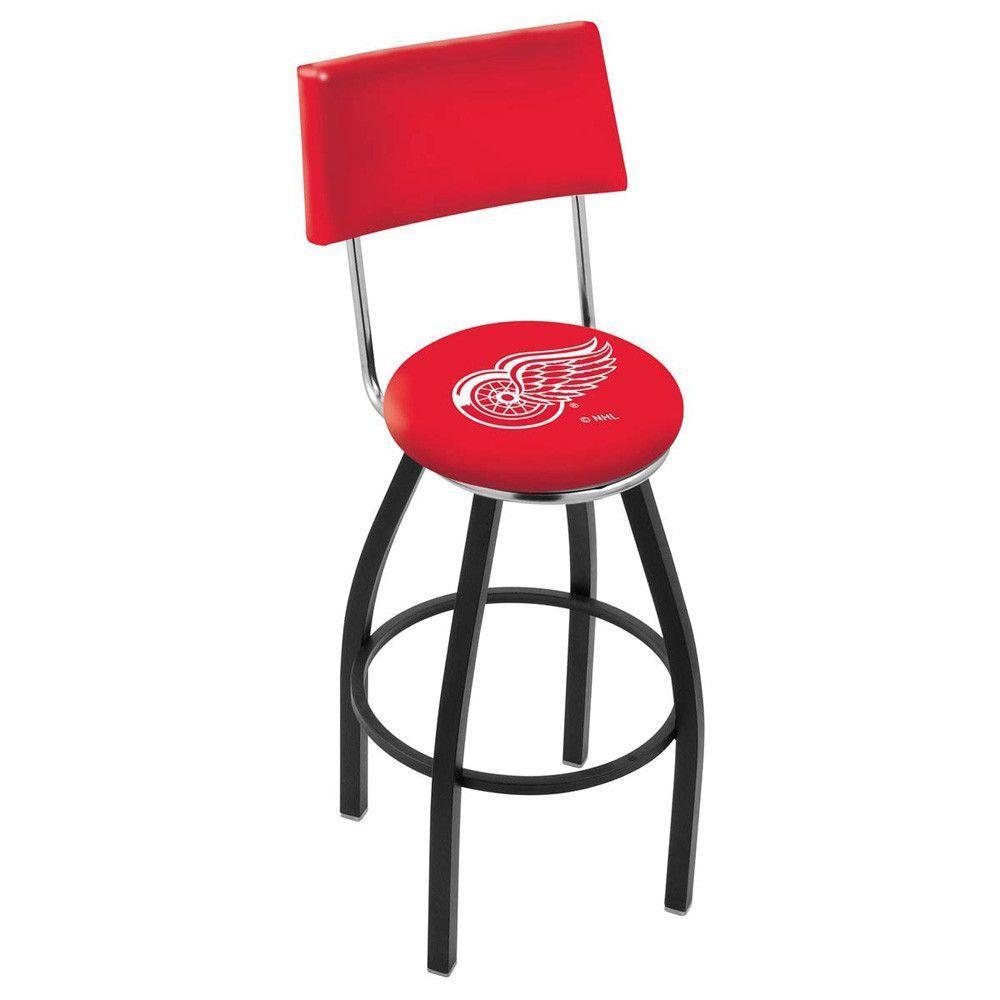 Chrome & Black Detroit Red Wings Swivel Bar Stool w/ Back
