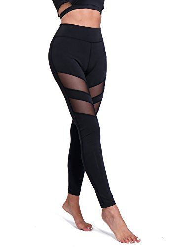 FITTOO Pantalon Yoga Legging de Sport Femme Fitness Collant avec Tulle 313570ec58c