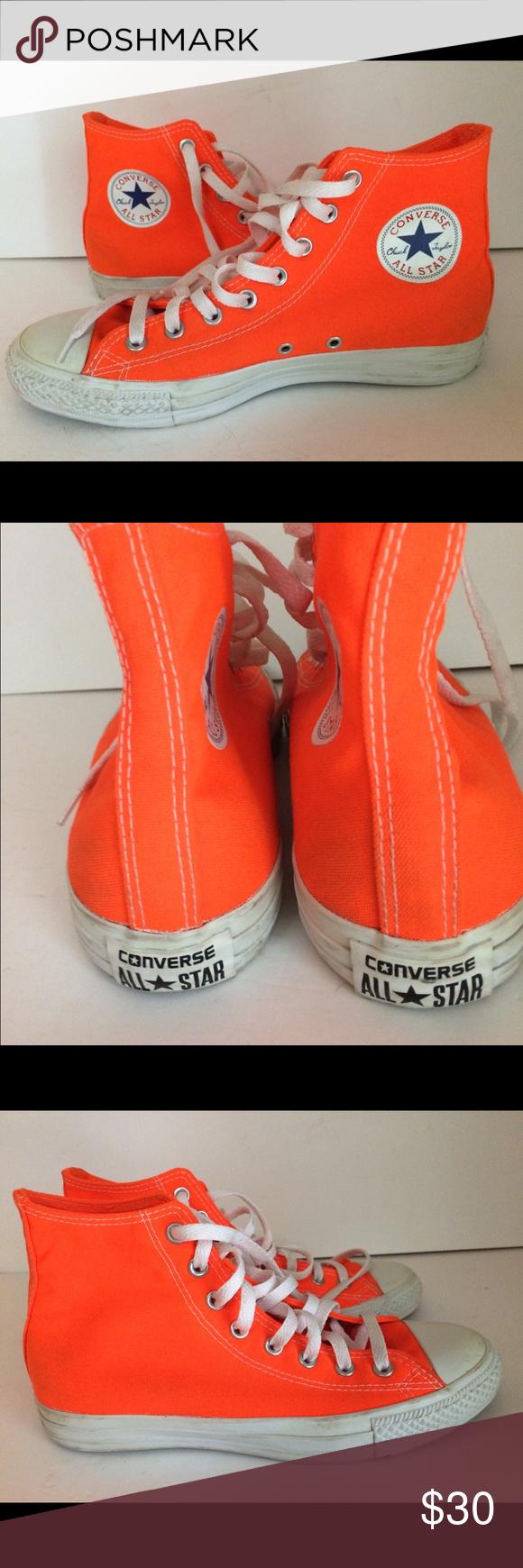 79df2def376c Converse All Chuck Taylor Neon Orange Converse All Star Chuck Taylor Neon  Orange High Top Sneakers Size 10 Medium. Very good condition - no flaws -  light ...