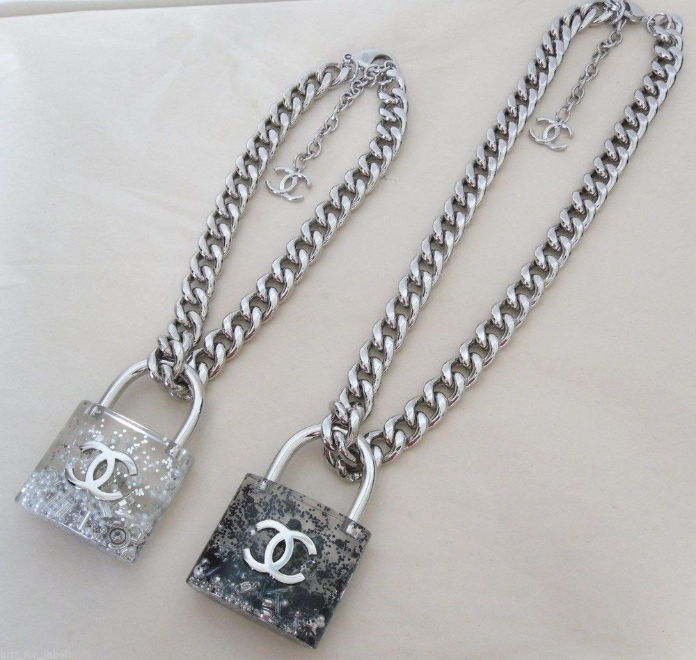 Chanel 2014 Large Padlock Removable Lock Black Pearls Cc Chain Necklace Nwt