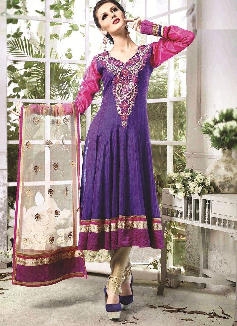 Shop Online Blue Chanderi Cotton Silk #AnarkaliSuits @Chennaistore ...