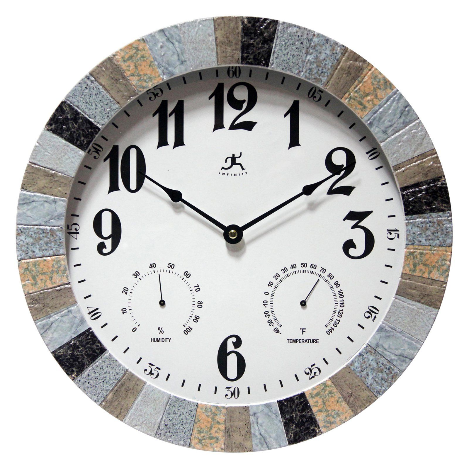 Infinity Instruments Mason 13 5 In Wall Clock Wall Clock Outdoor Wall Clocks Round Wall Clocks