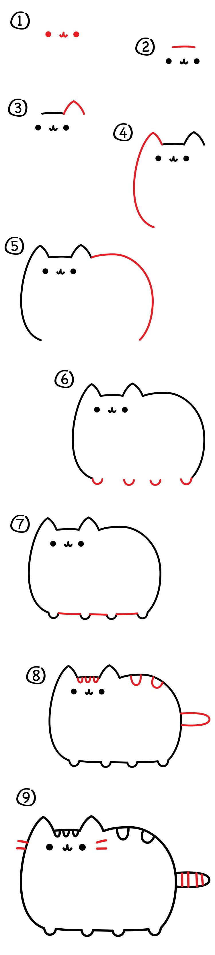 how to draw the pusheen cat art for kids hub pusheen