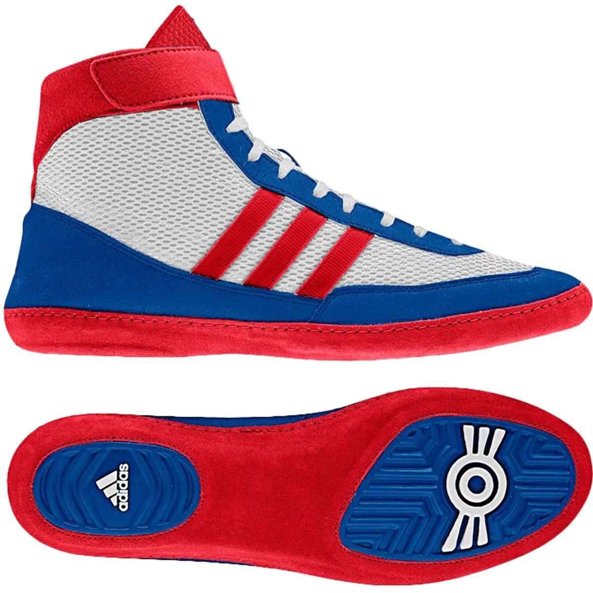 adidas Combat Speed 4 Wrestling Shoes - Running White/Colleglate Red/ Blue  Beauty-