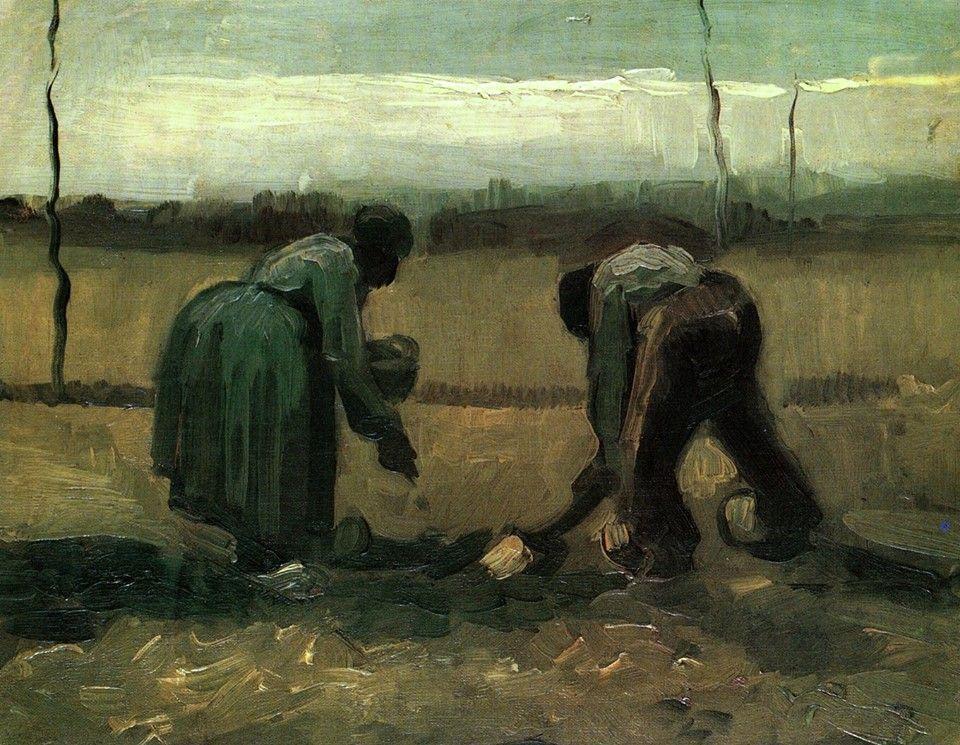 homem e mulher, plantar batatas, de abril de 1885. Óleo sobre tela. Kunsthaus Zürich