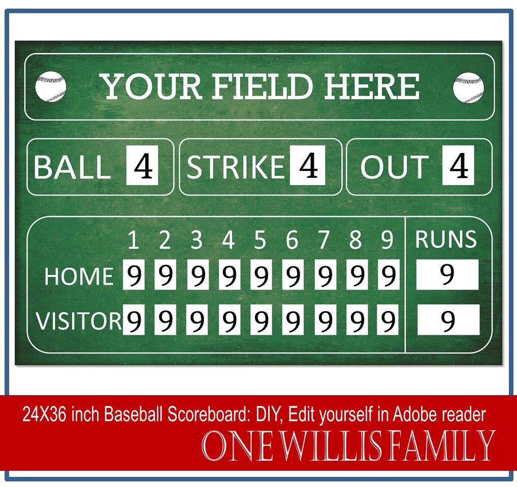 Diy Baseball Scoreboard Baseball Birthday Party Decoration