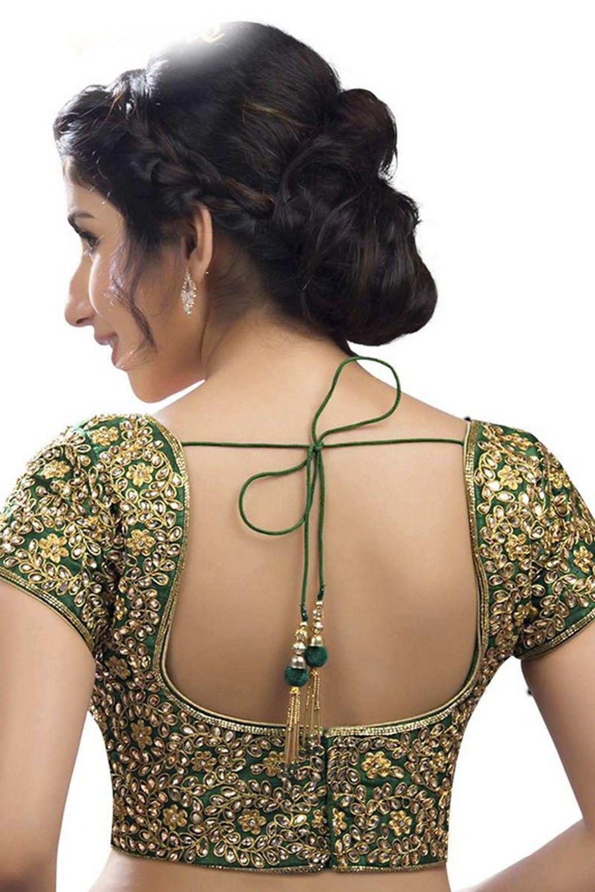 5ea53d7848e796 Dark  green    gold festive wear raw silk gorgouse  blouse with deep pot  neck -BL574