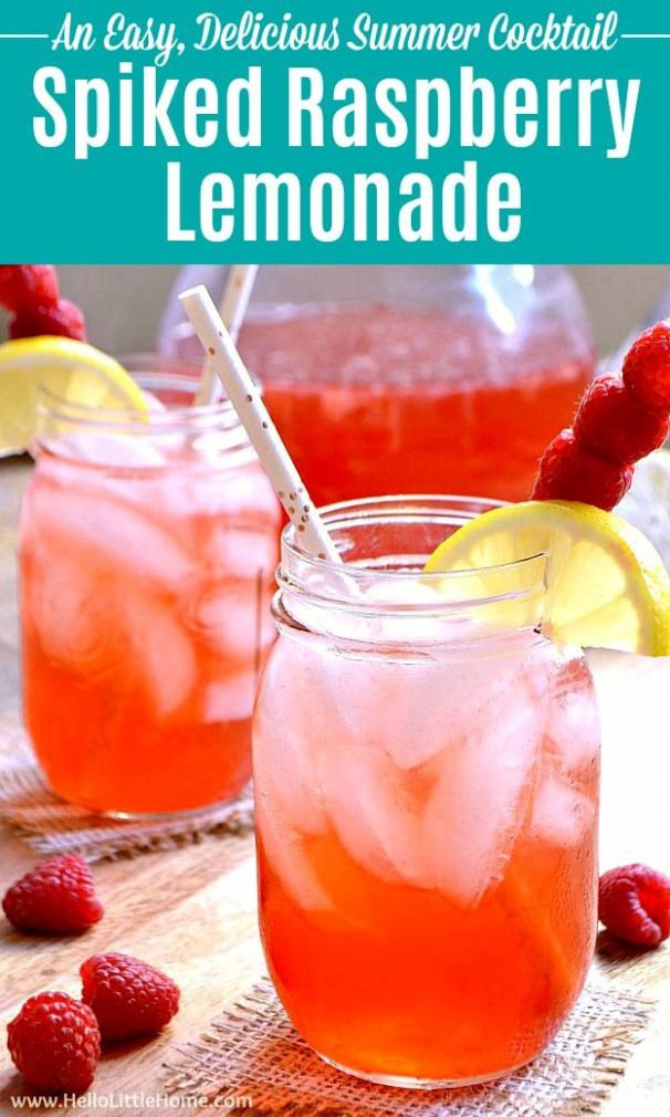 Spiked Raspberry Lemonade recipe an easy summer cocktail! This simple Spiked Lemonade Cocktail is made with homemade lemonade vodka Raspberry Syrup. Make a pitcher of Raspberry Lemonade Vodka fast for a party drink that's perfect for a crowd. Serve this Raspberry Lemonade Cocktail in mason jars or glasses. A refreshing Raspberry Cocktail that's great for happy hour baby showers girls night summer entertaining more! | Hello Little Home #vodka #vodkacocktails #spikedlemonade #summerdrinks #alcohol #raspberryvodka