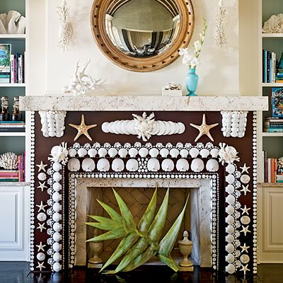 Fancy Fireplace - 12 Creative Ways to Decorate with Shells - Coastal Living