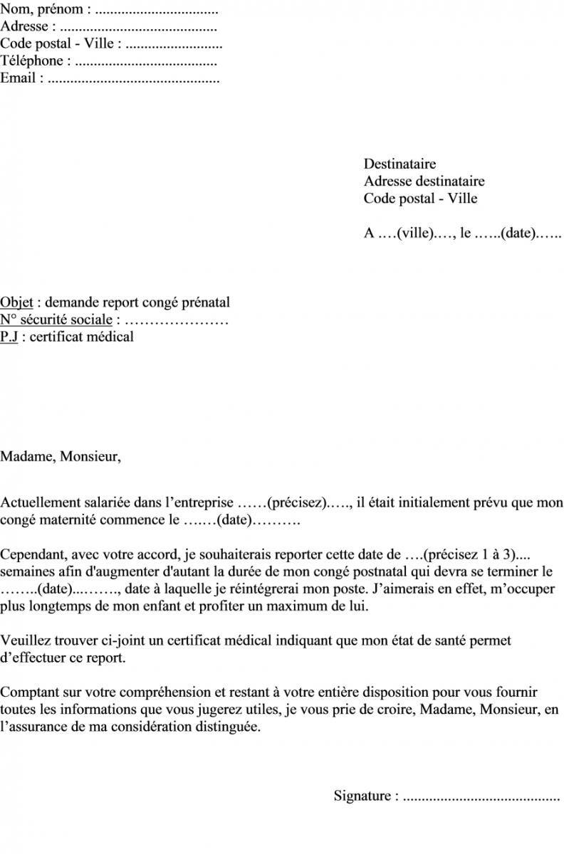 Modle de lettre demande report cong maternit prnatal aisse dassurance maladie  toroto