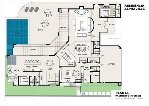 Projeto casa com piscina 4 arquitetura pinterest for Plantas para piscinas