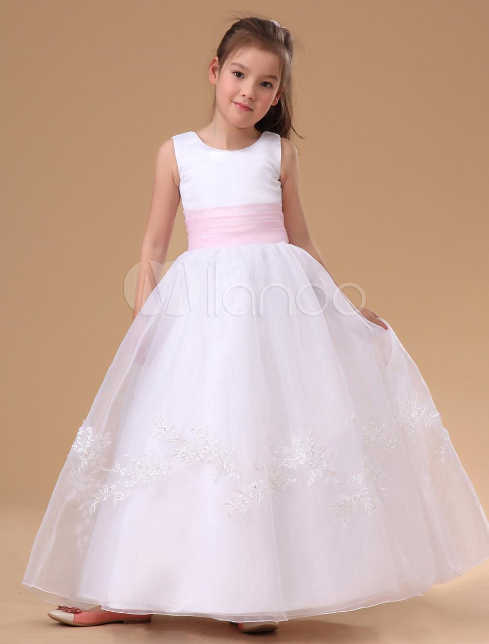 07d7cb1766 Vestidos de Floristas blancos Apliques de encaje Vestido de fiesta para  niñas Fajín rosa Vestido sin mangas plisado Vestido de primera comunión de  la ...