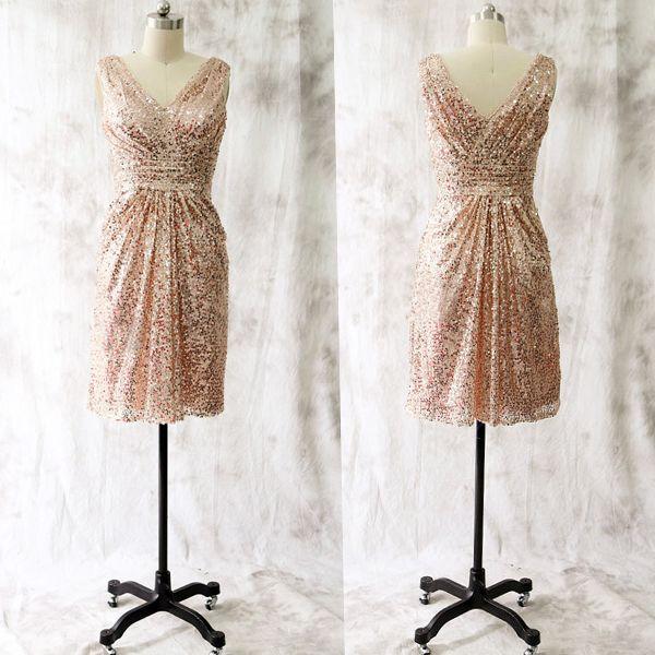 Short Rose Gold Bridesmaid Dresses,Simple Cheap Bridesmaids Dresses ...