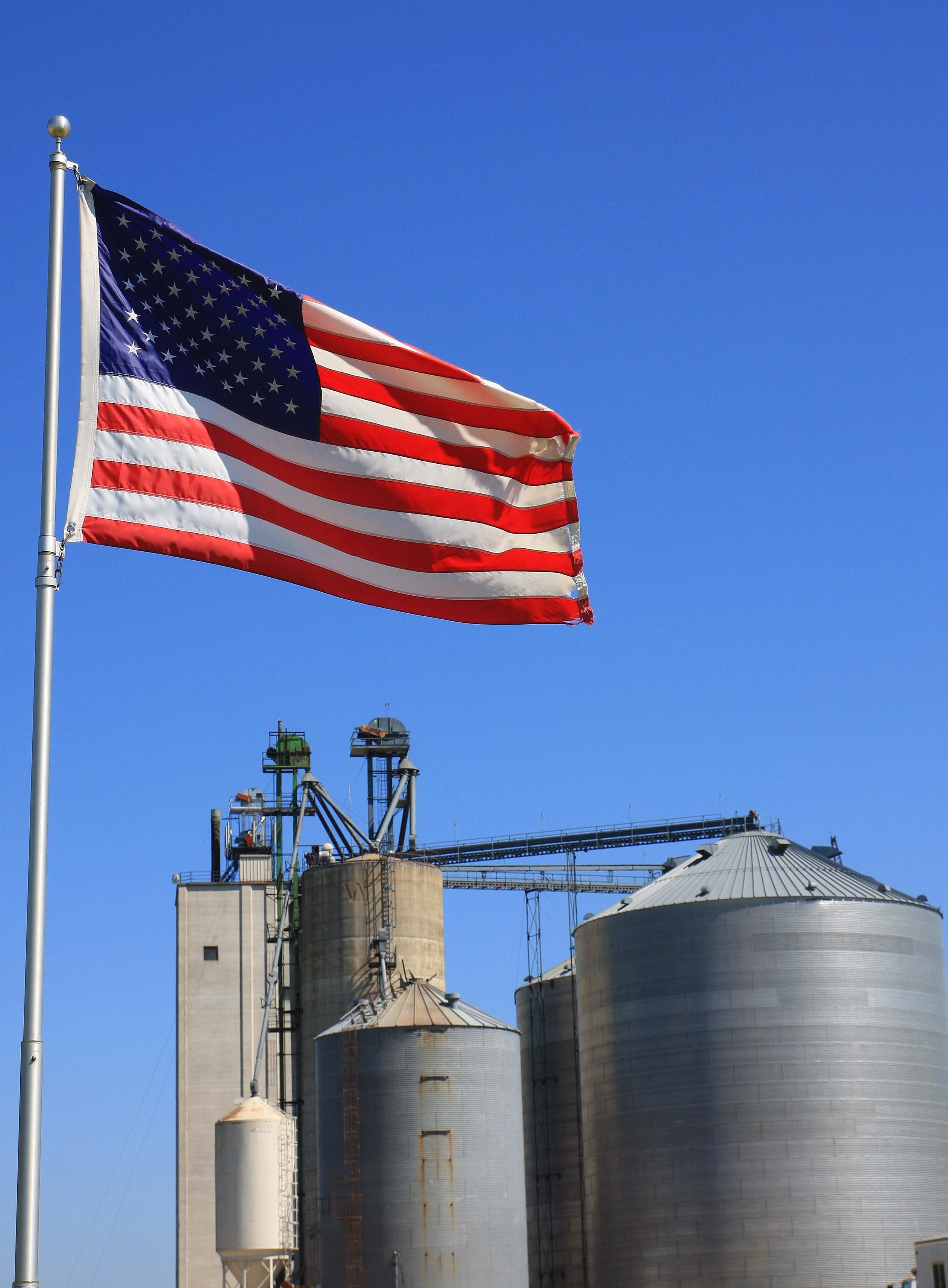 American Flag Next To Feed Mill Southern Oregon Co Op Pets