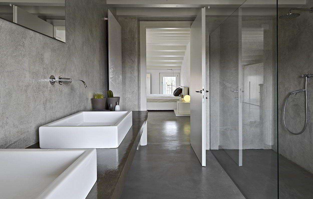 Moderne badkamers met gepolierd beton huis 2 pinterest toilet